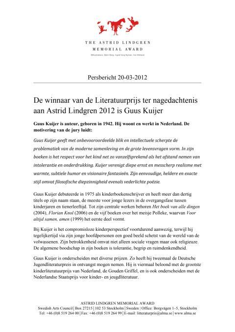 Press release: Guus Kuijer nl
