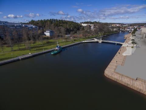 Flygbild av broförslaget Vingspann