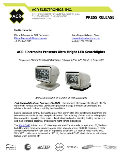 ACR Electronics Presents Ultra-Bright LED Searchlights