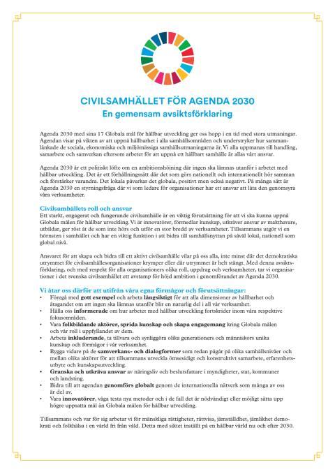 Civilsamhället för Agenda 2030 - avsiktsförklaring