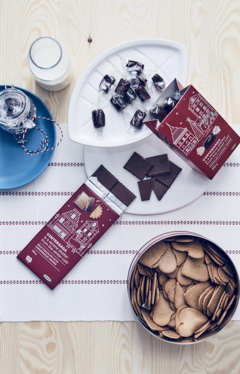 VINTERSAGA karamel med chokoladesmag 25.-, VINTERSAGA mælkechokolade med brunkagekrummer 15.-