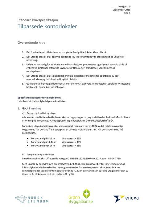 Standard kravspesifikasjon for tilpassede, eksisterende lokaler