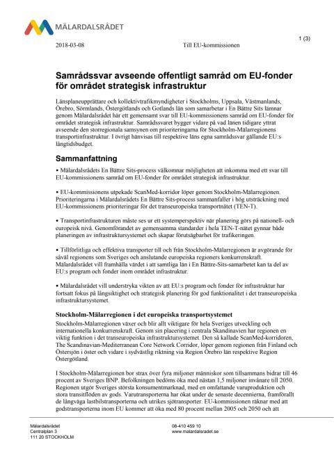 Samrådssvar avseende offentligt samråd om EU-fonder för området strategisk infrastruktur