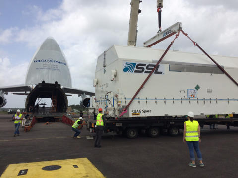EUTELSAT 65 West A flies into Kourou for Ariane launch on 9 March