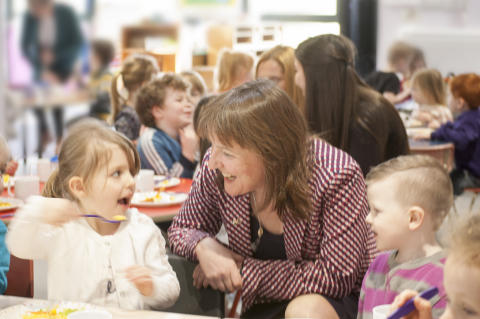Lunch is served - Minister joins Seafield Nursery children at lunchtime