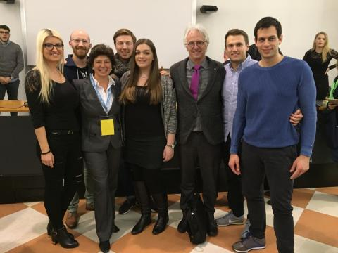 (v. li) Linda Löffler, Konstantin Kropp, Prof. Dr. Dolores Sanchez Bengoa, Wilhelm Keller, Nicole Ernst, Prof. Dr. Hans-Rüdiger Kaufmann, Julian Hochscheid, Christian Rueckold.