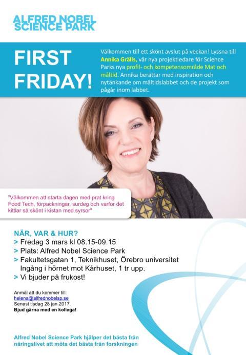 First Friday på Alfred Nobel Science park i mars!
