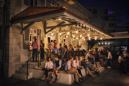 Terrace at Spedition Hotel & Restaurant, Thun, Switzerland, designed by Stylt Trampoli
