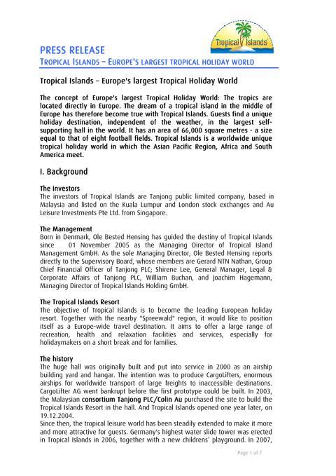 Tropical Islands company profile