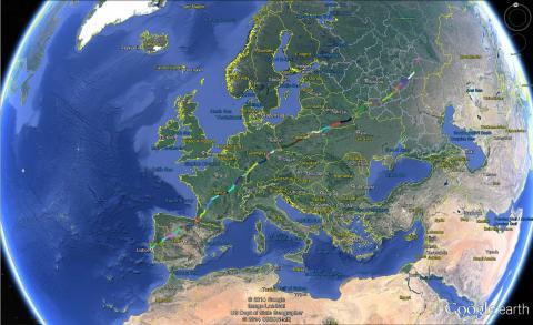 Världskarta med rut genom Europa