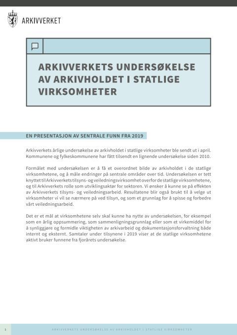 Arkivverkets undersøkelse av arkivholdet i kommuner og fylkeskommuner 2019