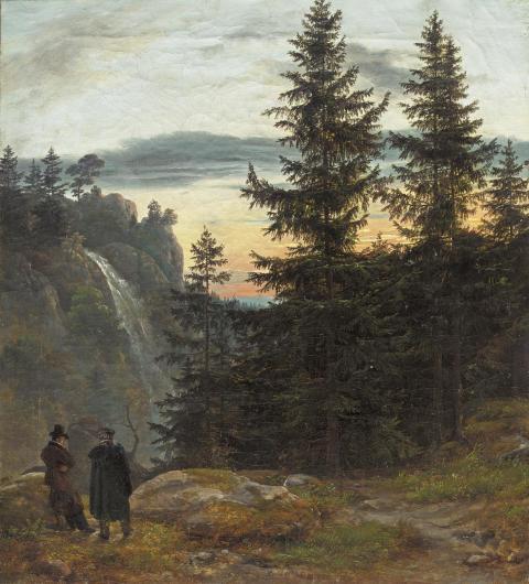 Alene med naturen. Johan Christian Dahl, Landskap med foss, 1823
