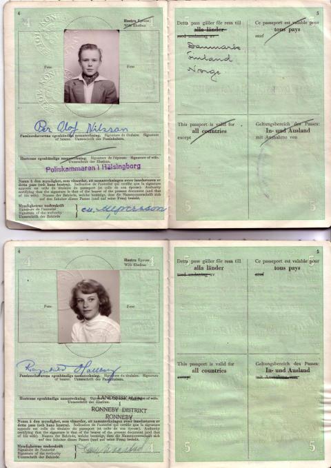 Svenska pass som användes vid flytthjälp