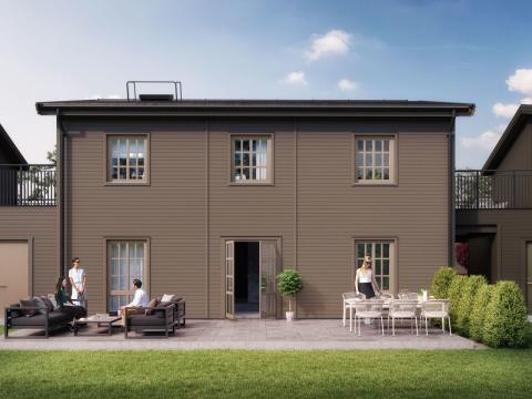 Kv Hällmarken - 3D-bild av de kedjehusen i 2-plan i etapp 2