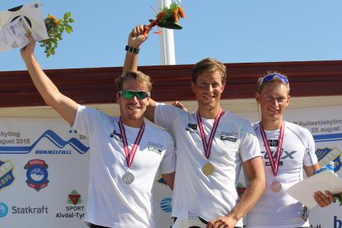 NM rulleskiskyting 2015 Jaktstart medaljevinnere menn
