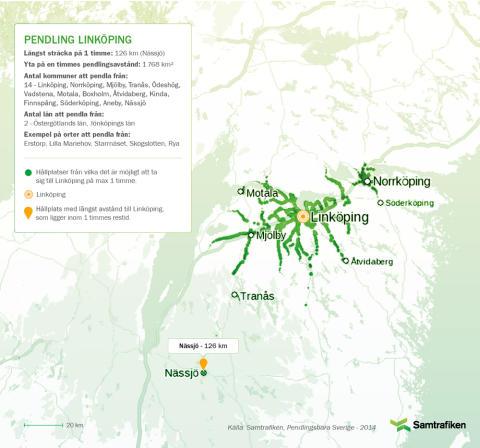 Pendlingsbara Sverige: Här kan man bo och pendla till Linköping