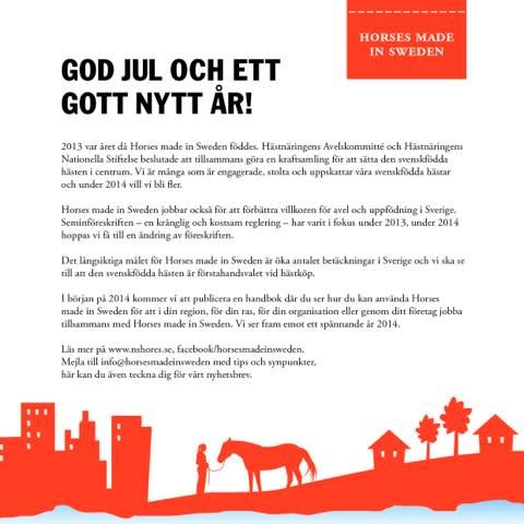 Horses made in Sweden önskar en God Jul och ett Gott Nytt År!