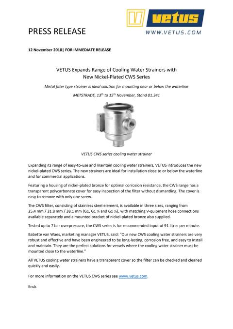 VETUS Expands Range of Cooling Water Strainers with New Nickel-Plated CWS Series