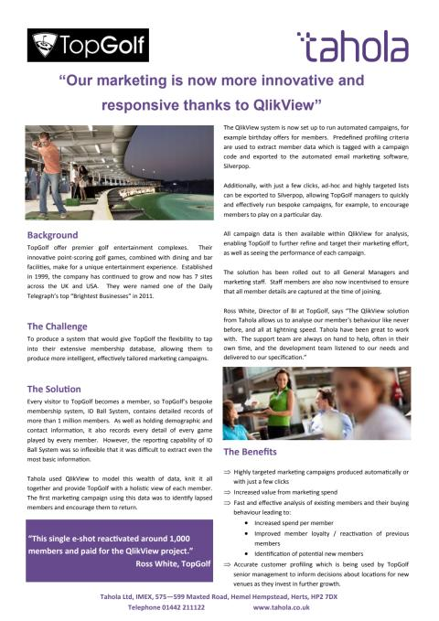 "Top Golf ""Our marketing is now more innovative and responsive thanks to Tahola and QlikView"""
