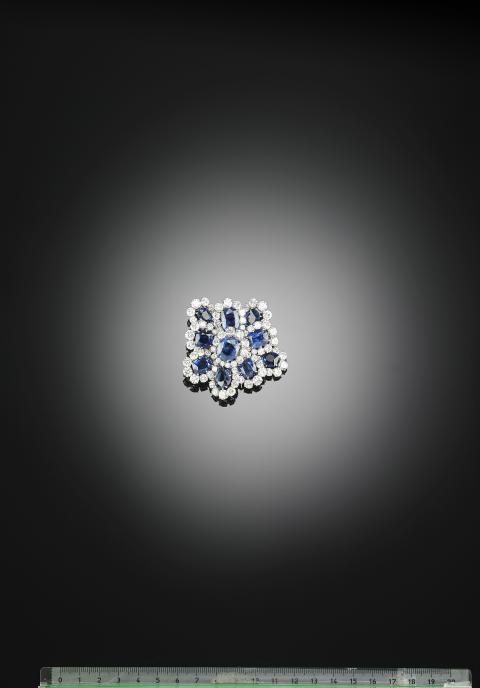 Van Cleef & Arpels sapphire and diamond brooch.