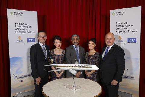 Premiär för Singapore Airlines på Arlanda