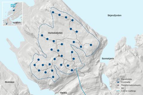 Kart Harbaksfjellet vindpark
