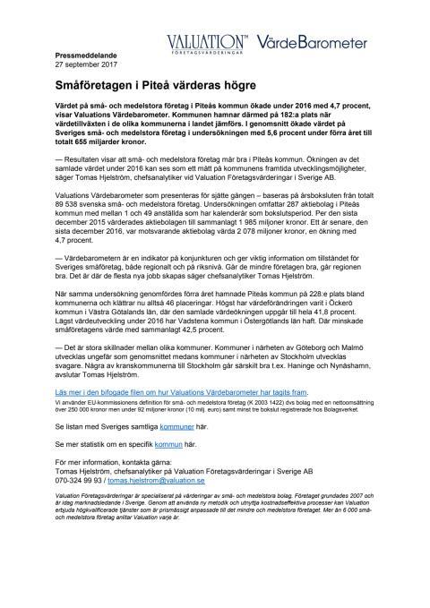 Värdebarometern 2017 Piteås kommun