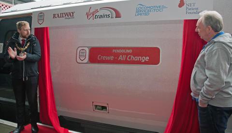 Pendolino 390115 named 'Crewe - All Change'
