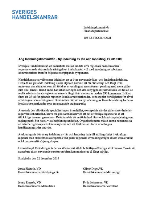 Ang Indelningskommittén - nya län och landsting, Fi 2015:09