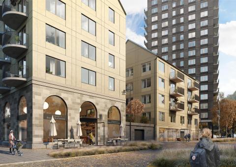 Levande bottenvåningar i Kvarteret Kedjan, i Kallebäcks Terrasser