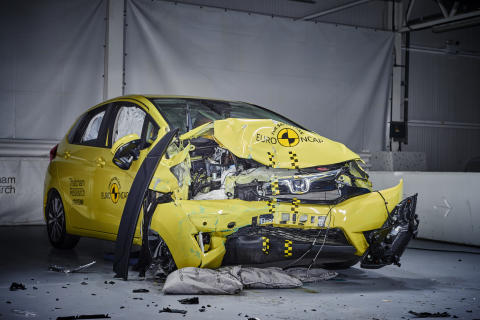 Euro NCAP 20th - the current Honda Jazz shortly after a 40mph frontal offset test in the Thatcham Research Crash Lab