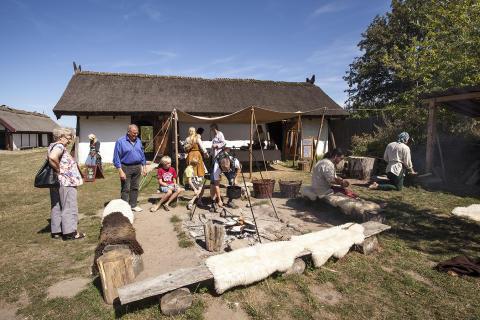 Vikingerne flytter ind i vikingelandsbyen på Trelleborg