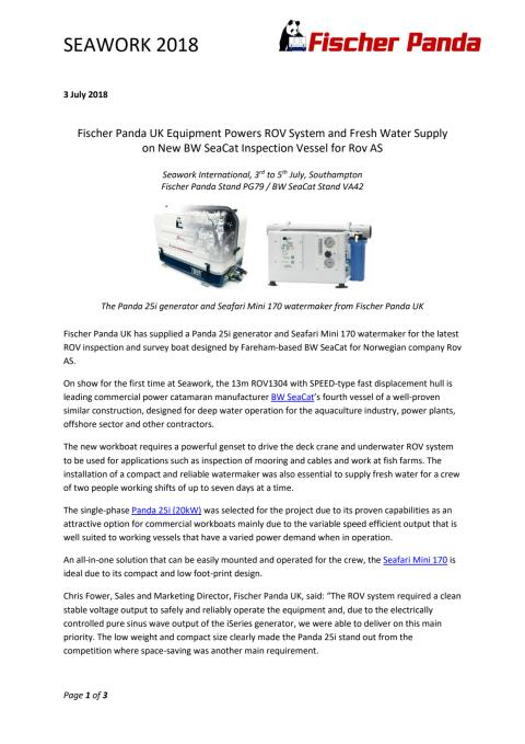 Fischer Panda UK Equipment Powers ROV System and Fresh Water Supply  on New BW SeaCat Inspection Vessel for Rov AS