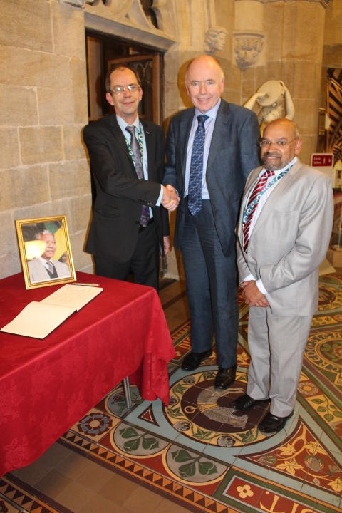 Cllr Colin Lambert, Jack Dromey MP, and Cllr Sultan Ali