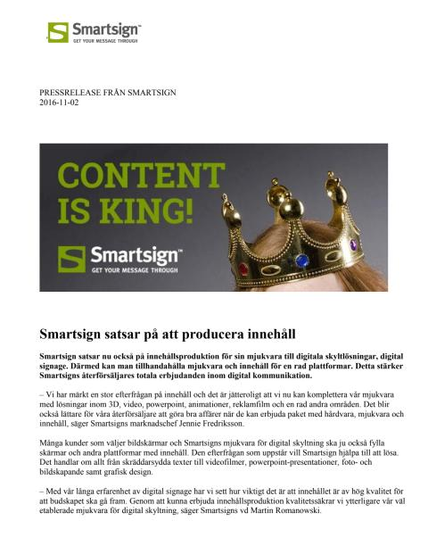 Smartsign satsar på att producera innehåll