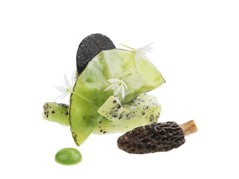 Tryffelglaserad broccoli med spetskål och murklor