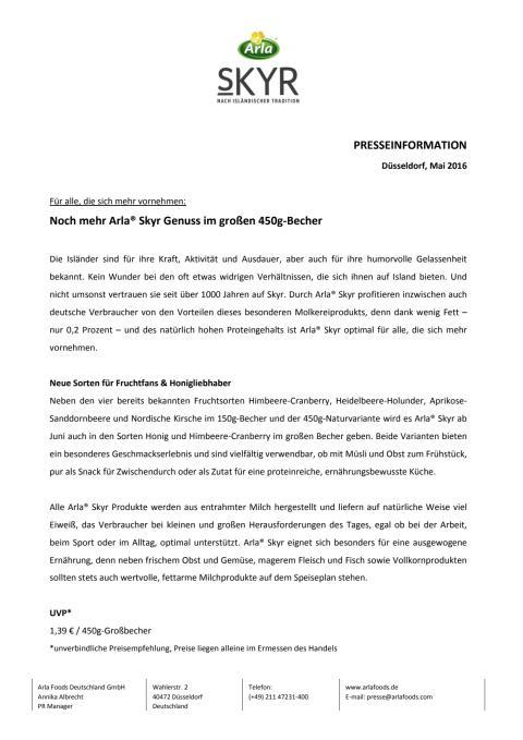 PM_Publikumspresse_Noch mehr Arla® Skyr Genuss im großen 450g-Becher