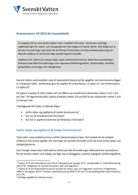PM Kommentarer till 2013 års taxestatistik