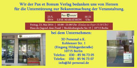Wir der Pax et Bonum Verlag bedanken uns von Herzen bei 3D Personal e.K. für die Unterstützung zur Bekanntmachung der Veranstaltung.