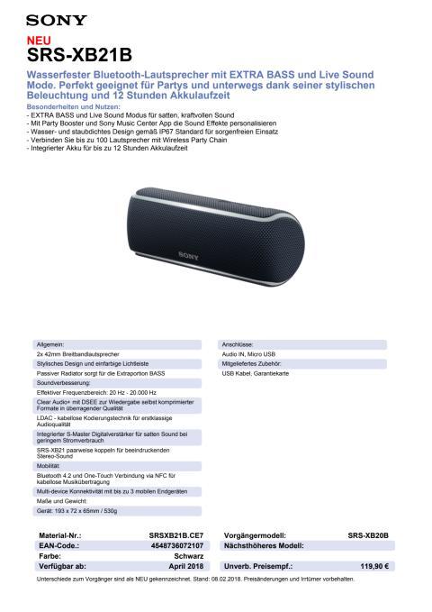 Datenblatt Wireless Speaker SRS-XB21 von Sony