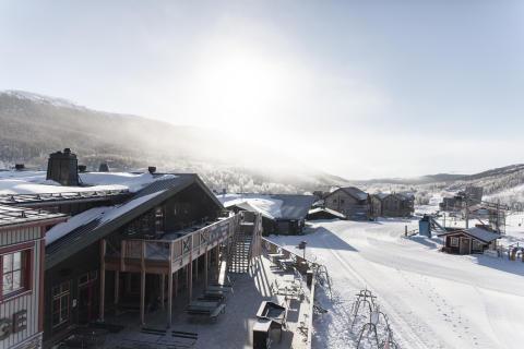Ski Lodge i snö och sol