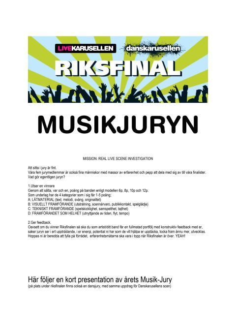 Musikjury riksfinal Livekarusellen 2014