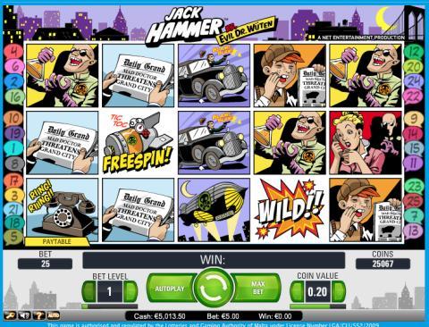Jack Hammer slot at Vera&John Casino