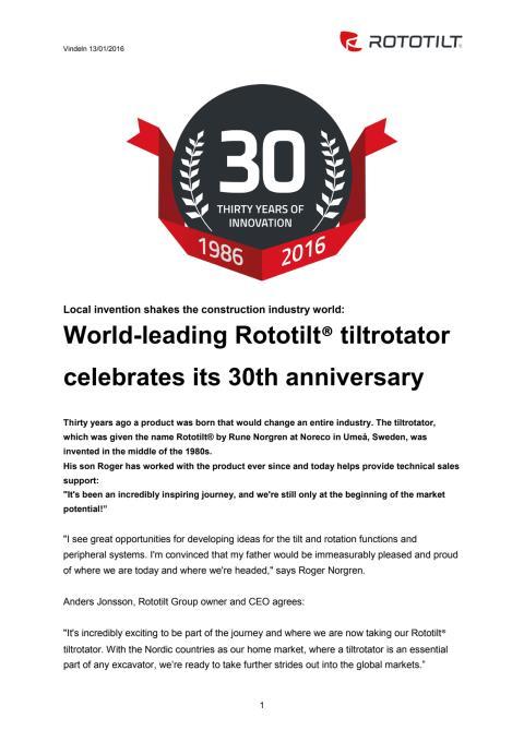 World-leading Rototilt® tiltrotator celebrates its 30th anniversary