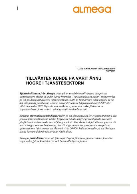 Almegas Tjänsteindikator 4 kv 2010