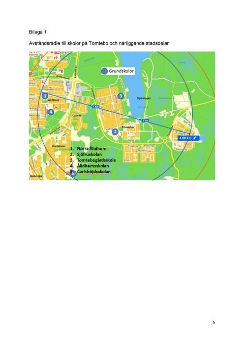Karta Tomtebo skolområde