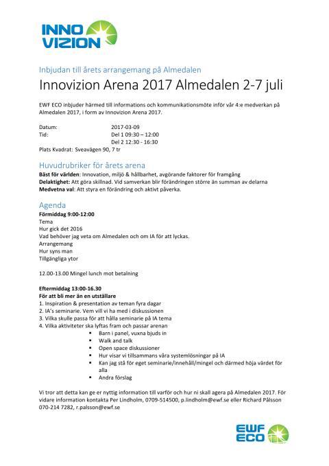 Inbjudan Innovizion Arena 2017 Almedalen 2-7 juli