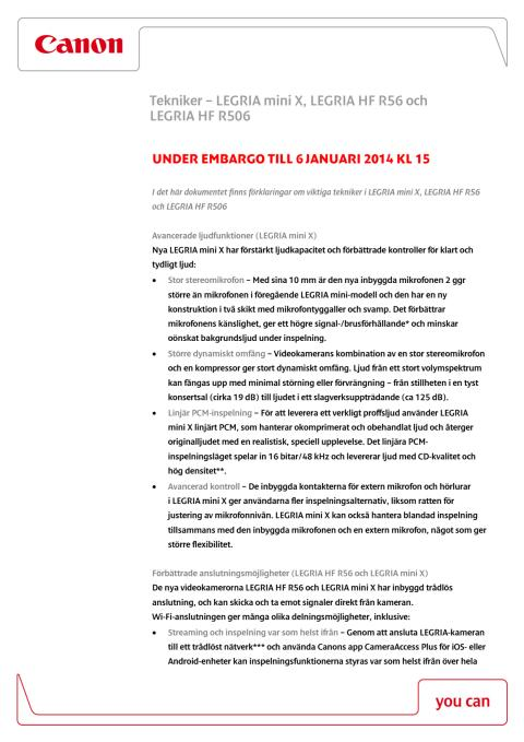 Canon Teknisk förklaring LEGRIA HF R56, LEGRIA HF R506