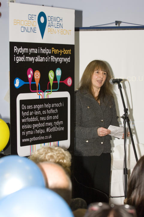 Cathryn Marcus, Project Director of Communities 2.0 at the launch of Get Bridgend Online