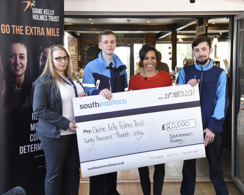 Dame Kelly Holmes accepts £20,000 Southeastern donation to help young people facing disadvantage